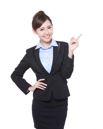 ビジネス: ビジネスの女性表示何かは白い背景に、アジアの美しさの分離