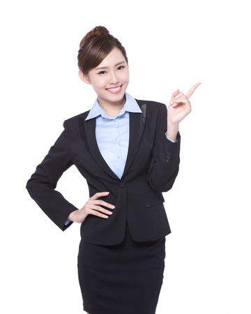 iş: iş kadını gösterisi şey beyaz arka plan üzerinde izole, Asya güzellik