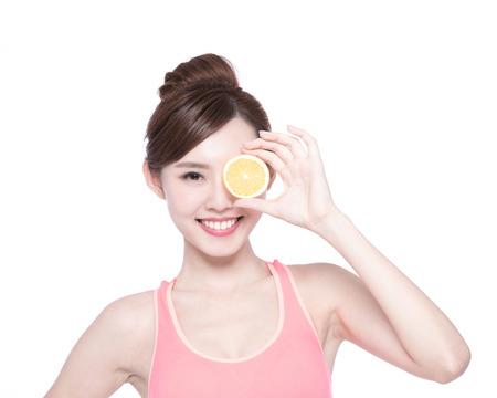 fruits juice: Happy Woman show orange benefit to health, asian beauty