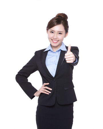 business woman show thumb up isolated on white background, asian beauty Stockfoto
