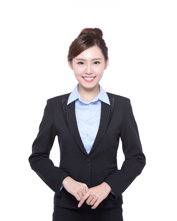 business woman isolated on white background, asian beauty 스톡 콘텐츠