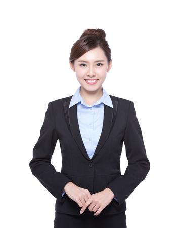 traje: mujer de negocios aislados en fondo blanco, belleza asiática