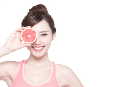 asian lifestyle: The woman is dieting healthy isolated on the white background, asian