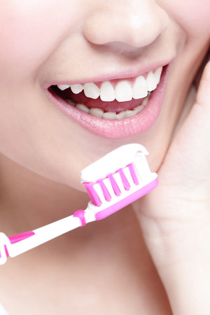 smile close up: Close up of Smile woman brush teeth. great for health dental care concept, asian beauty