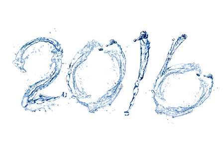 Happy New Year 2016 by Pure splash of water isolated on white background