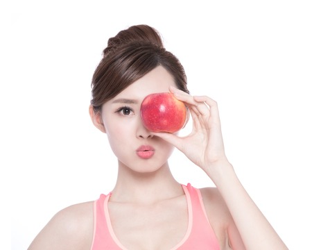 young asian: Happy health woman show apple benefit to health, asian beauty
