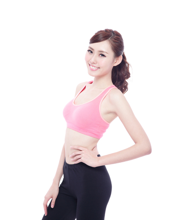 Sport girl isolated on white background. Running fitness sport woman jogging smiling happy. asian beauty
