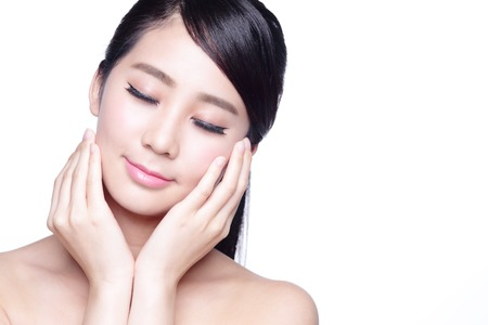 skin care woman: beauty portrait of a young woman realx closed eye isolated on white background, concept for health , asian beauty
