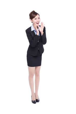 rumor: business woman happy shouting isolated on white background, asian beauty