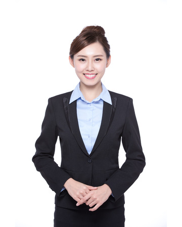 business woman isolated on white background, asian beauty Stock Photo