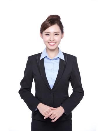 empleado de oficina: mujer de negocios aislados en fondo blanco, belleza asiática