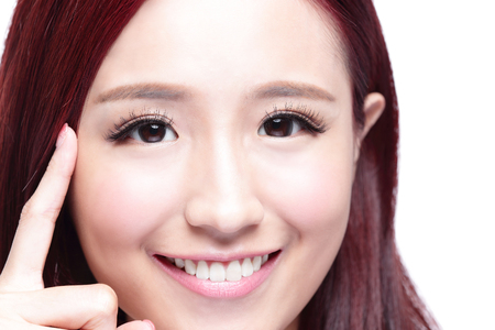 woman eye: Beautiful Woman smile pointing her eye with health long straight hair, concept for health eye care,  asian beauty model