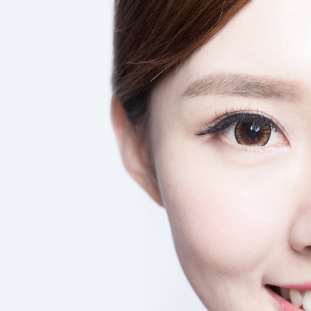 eyebrow: Beautiful woman eye with long eyelashes. asian model Stock Photo