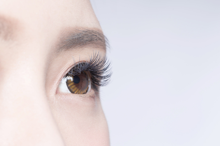 beauty skin: Beautiful woman eye with long eyelashes. asian model Stock Photo