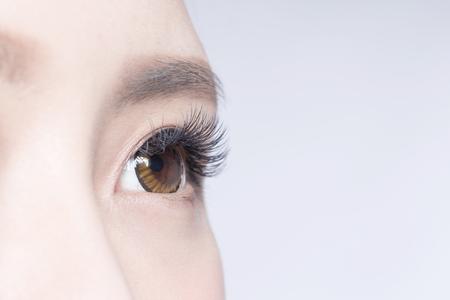 Ojo de la mujer hermosa con largas pestañas. modelo asiático