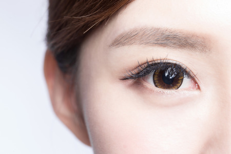close up eyes: Beautiful woman eye with long eyelashes. asian model Stock Photo