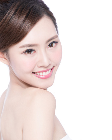 asia: Beautiful Skin care woman Face smile to you isolated on white background. asian Beauty Stock Photo