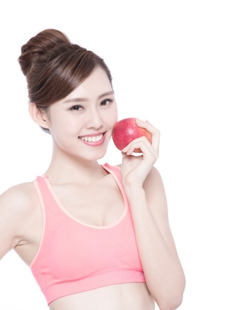 woman eat: Happy health woman show apple benefit to health, asian beauty