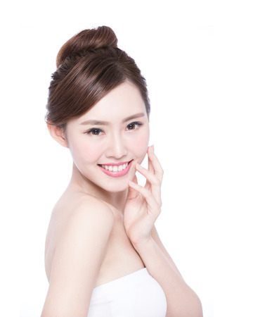asian: Beautiful Skin care woman Face smile to you isolated on white background. asian Beauty Stock Photo