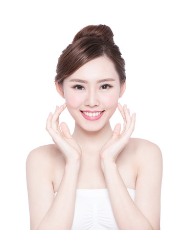 girl face close up: Beautiful Skin care woman Face smile to you isolated on white background. asian Beauty Stock Photo