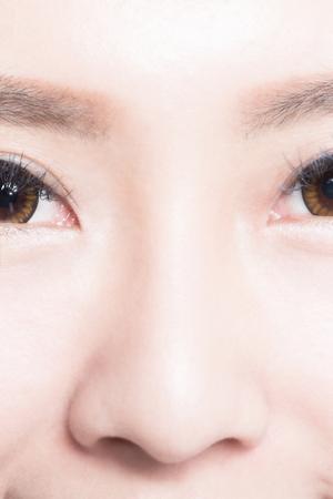 nose close up: close up of woman nose. asian Beauty