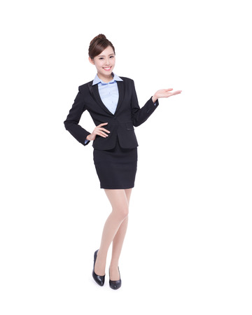 female boss: business woman show something isolated on white background, asian beauty