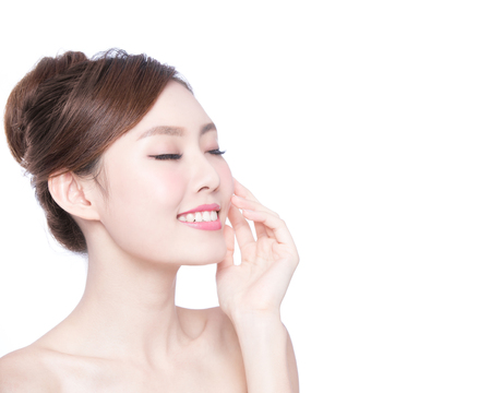 white face: Beautiful Skin care woman relax and touch her skin face isolated on white background. asian Beauty