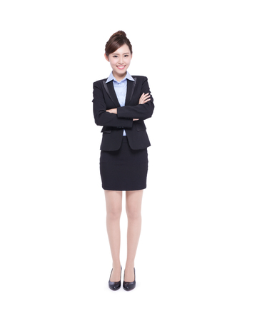 woman in office: business woman isolated on white background, asian beauty Stock Photo
