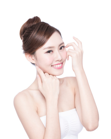 Beautiful Skin care woman Face smile to you isolated on white background. asian Beauty Stockfoto