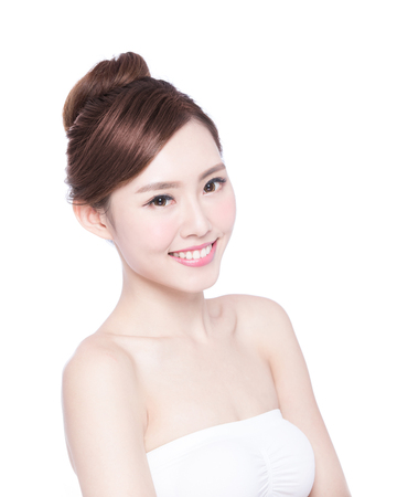 skin beauty: Beautiful Skin care woman Face smile to you isolated on white background. asian Beauty Stock Photo