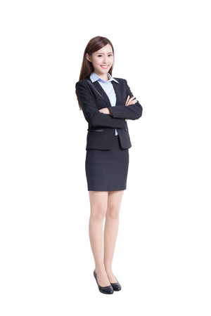empleado de oficina: mujer de negocios sonreír a usted en toda su longitud sobre fondo blanco, belleza asiática
