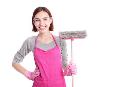 house maid: happy Cleaning woman housewife mother excited smile to you isolated on white background