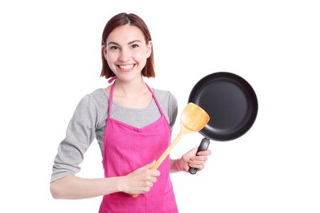 casalinga: Giovane, donna, casalinga la madre di indossare grembiule da cucina cottura, isolato su sfondo bianco, caucasico