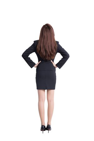 rear view: Back view of business woman look white wall background, great for your design or text, asian Stock Photo