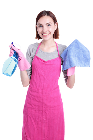 housewife gloves: young housewife woman mother cleaning isolated on white background Stock Photo