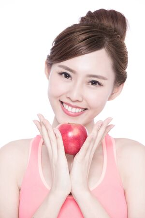pomme rouge: Happy health woman show apple benefit to health, asian beauty