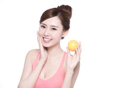 slender woman: Happy Woman show orange benefit to health, asian beauty