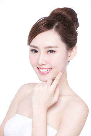 beautiful woman body: Beautiful Skin care woman Face smile to you isolated on white background. asian Beauty Stock Photo
