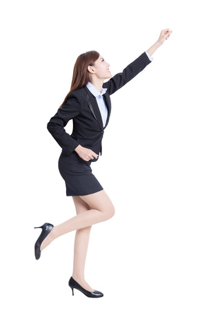 excited business woman: Excited business woman isolated on with background, asian beauty Stock Photo