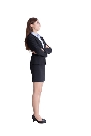 business woman stand profile in full body isolated on white background, asian 免版税图像