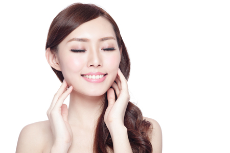 Beauty woman charming smile and relax closed eye enjoy with health skin and hair isolated on white background, asian beauty 版權商用圖片