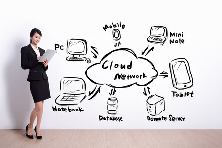 wall cloud: Cloud computing network concept - business woman hold computer with drawing cloud tech icon and text on white wall background, asian