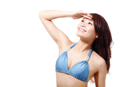 asian bikini: Beautiful young woman wear sexy swimsuit bikini and feel free look to copy space isolated on white background, asian