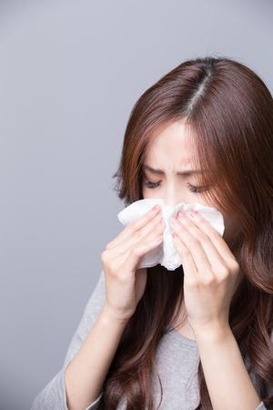 Kobieta łapie przeziębienie, choroby, asian Zdjęcie Seryjne