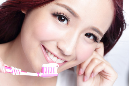 smile close up: Close up of Smile woman brush teeth. great for health dental care concept, Isolated over white background. asian