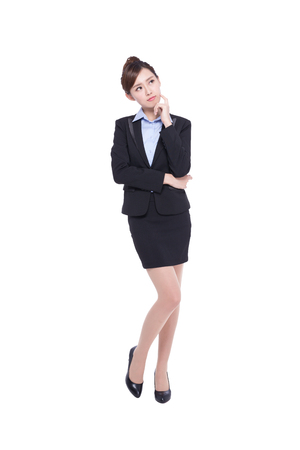 asian businesswoman: business woman look and think something isolated on white background, asian beauty Stock Photo