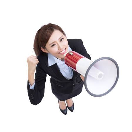 talk show: business woman talking in megaphone with white background, great for your design, asian Stock Photo