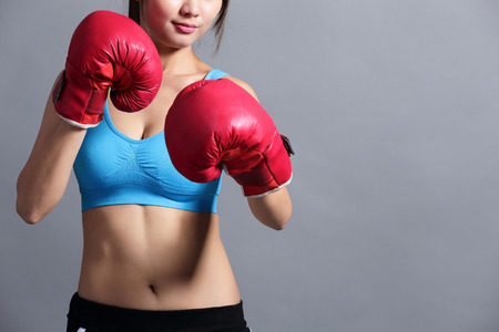 sexy female: Woman is boxing, asian beauty