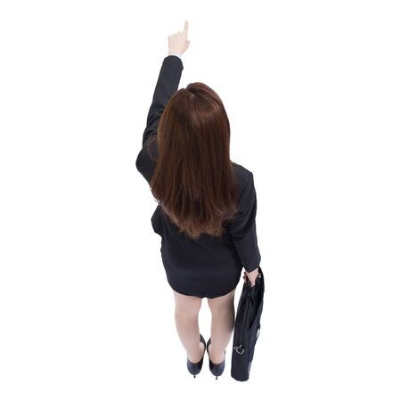 view woman: Back view of business woman pointing and carry a suitcase, high angle view, asian beauty