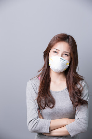 cross arms: A Woman wears a mask  and cross arms, illness, asian beauty